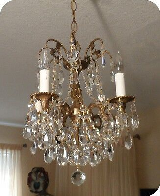 Vintage Petite Chandelier With Czech Crystals And 4 Arms
