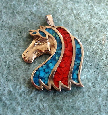 """Silver, Turquoise & Coral Chip Horse Pendant Charm 1.5"""""""