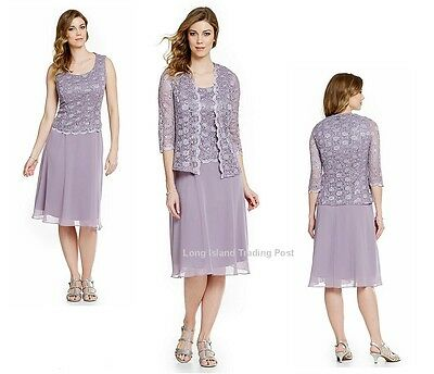 R & M Richards Orchid Sequin Lace & Chiffon Mother Bride Formal Jacket Dress 10