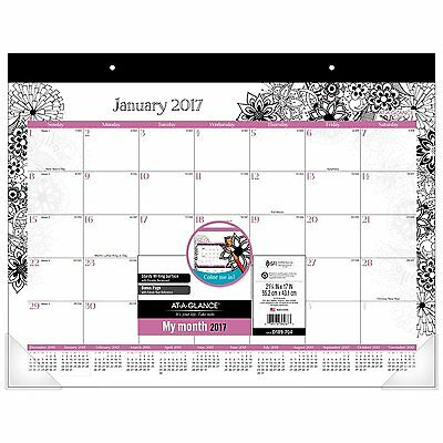 "AT-A-GLANCE Desk Pad Calendar 2017, Monthly, 21-3/4 x 17"", FloraDoodle, Color"