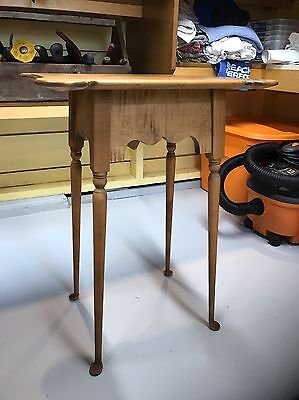 New England reproduction Tiger Maple Chippendale Side Table