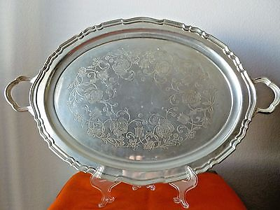 """Chippendale 22"""" Silverplate Oval Serving Tray"""