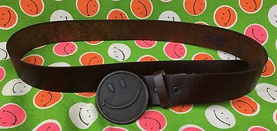 Vintage Smiley Face Leather Belt 1960's Hippie Happy Eames Harvey Ball Buckle