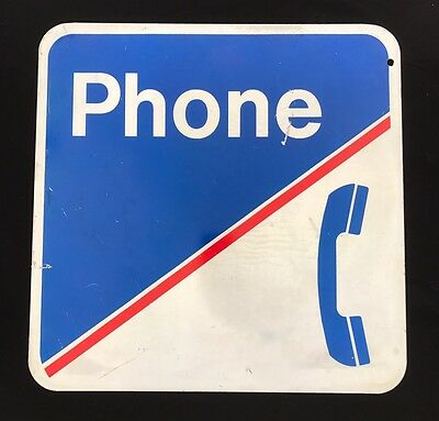 VINTAGE TELEPHONE / PHONE Double Sided SIGN - Original
