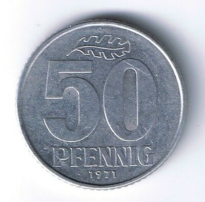 1971 A East Germany 50 pfennig coin .5 mark cent German Communist Cold War Relic