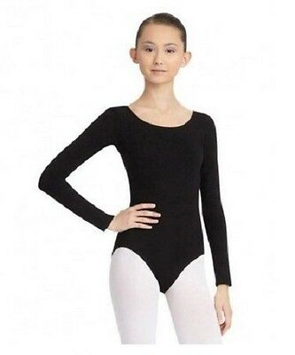 Capezio Classic - CC450 Women's Size Medium (8-10) Black Long Sleeve Leotard
