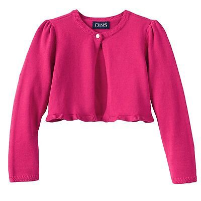 NWT $36 Chaps Girl's Pink One-Button Open Cardigan Sweater Size 6