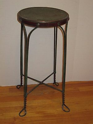 Vtg Industrial Machine Metal Wire Bar Counter Drafting Stool Seat Factory Chair