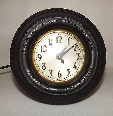 "Vintage 1950s Rubber Goodrich Tire Electric Sessions 6"" Clock Antique Rare WORKS"