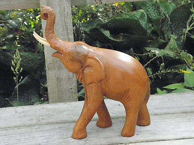 Beautiful Handcarved Iron Wood? Elephant Sculpture Figurine W/raised Trunk Lucky