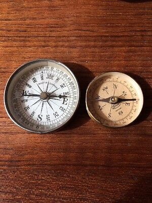 Antique Compass Lot Of 2, German Brass Vintage Advertising Piece Syracuse
