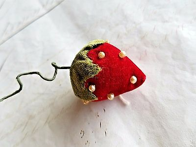 Antique Vintage Velvet Strawberry Pin Cushion Red Strawberry Pin Keep