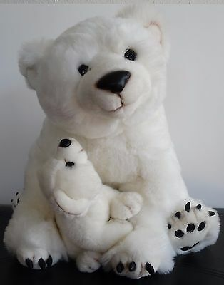 Realistic large POLAR BEAR With Baby CUB Plush White Stuffed animal  16""