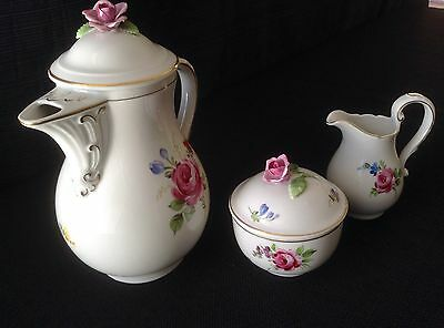 Vintage Von Schierholz Handmalerei Tea Pot, Creamer and sugar bowl