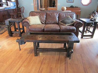 Carpenter /patternmaker's Workbench Coffee Table And Two End Tables