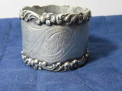 Vintage /antique Silver Plate* Nice Floral Design Scalloped Edge?? Napkin Ring*
