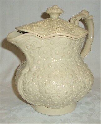 c1810 Don Pottery Drabware Water Jug & Cover - Moulded Daisy Pattern