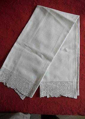 Antique Italian Hand Towel with Drawn Work
