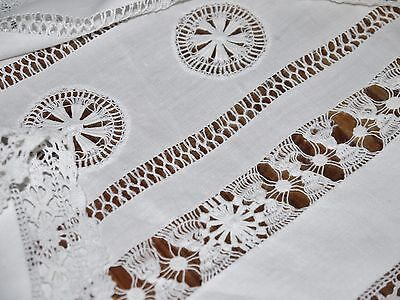 Antique*Linen*Hand made*Lace*Bed*Sheet*104x88*Huge Needle Work Border*White*Fab