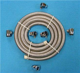 "3 Feet X 5/16"" Id   Braided Fuel Line Fuel  6 X Hose Clamps For Harley Hot Rod"