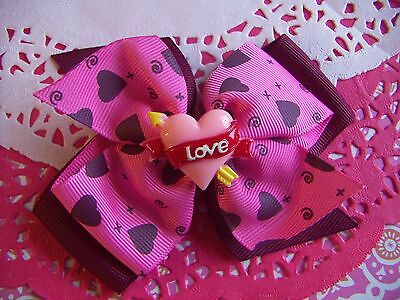 Lovely Valentine Pink & Burgundy with Hearts Wide Hair Bow Grosgrain Ribbon New