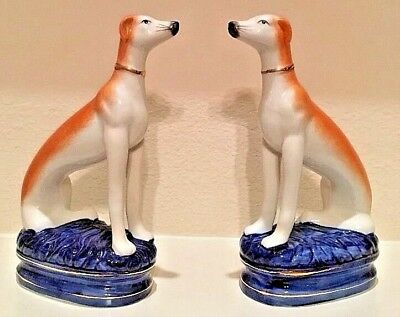 Vintage Fitz & Floyd© Porcelain Bookends Whippet Dogs Auburn & Ivory Blue Bottom
