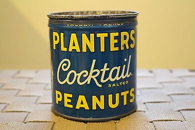 Vintage Planters Cocktail Salted Peanuts Tin Can