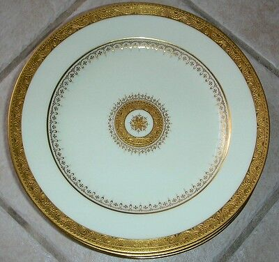 "10 Antique Minton Higgins & Seiter NYC Raised Gold Gilt Encrusted 9"" Plates 1374"
