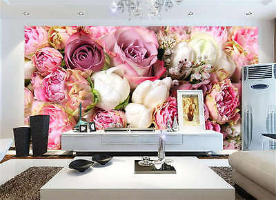 Vibrantly Color Peony Rose Full Wall Mural Photo Wallpaper Print Home 3D Decal