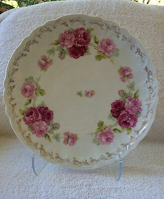 Welmar Germany Hand Painted Pink Rose Decor & Gold Plate Platter Large 12""