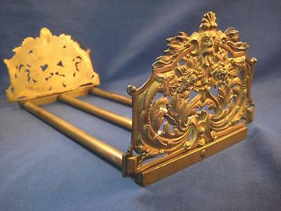Vintage Victorian Brass Antique Expandable Book Holder Ends North Wind Face