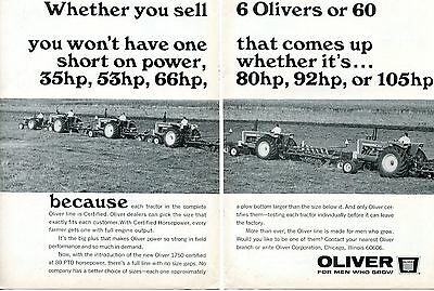 1967 2 Page Dealer Print Ad of White Oliver 1950 1850 1750 1650 1550 Tractor