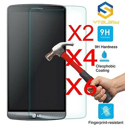 6Pcs 9H Real Tempered Glass Film Screen Protector Guard Cover For LG G3 G4 V10^