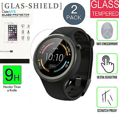 Moto 360 Sport [2 Pack] Full-Coverage Tempered Glass Screen Protector 9H Clear