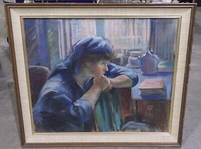 Vintage Original Oil On Canvas Framed --Woman Seated Mystery Artist Signed