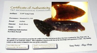 Authentic Long Creek Arrowhead Spear Point Very Rare ND Indian Artifact w COA