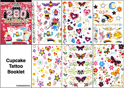 Butterfly Rose Heart Flower Black Temporary Tattoo Body Art Stickers 6 Sheets