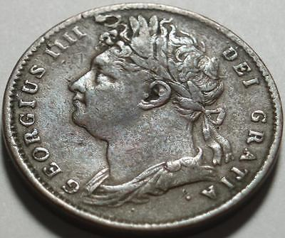 1823 GREAT BRITAIN George IV FARTHING by PISTRUCCI Beautiful BRITANNIA WITH LION