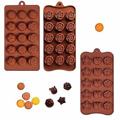 Poproo Flower Shaped 3-piece Candy Molds Set 15-cavities Chocolate Ice Cube Rose