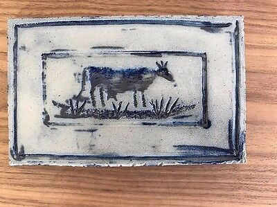 Rowe Pottery Works Primitive Art  Dairy Cow Tile - Saltglaze Blue on Gray - 1990