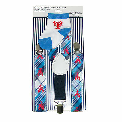 New ABG Accessories Infant's Lobster Suspender and Sock Set