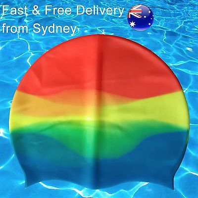 Rainbow colours swimming cap - Silicone - Aussie pool swim hat- Adult size