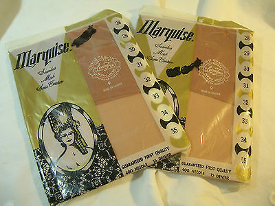 2 Pair Vintage 1960's Seamless Stockings~15 Denier Nylon~In Original Pkgs~Sz9