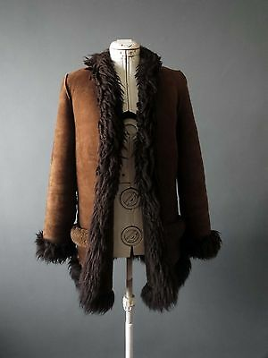 70s Coco Brown Shearling Lambskin Fur Suede Jacket Sm Buy 3+Items for FREE Post