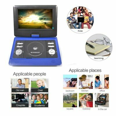 """10"""" Rechargeable Portable & In-Car Blue DVD SD Player With Remote+300 Free Games"""