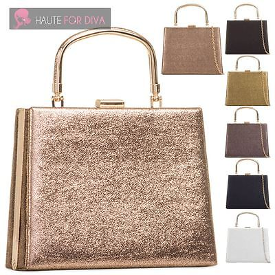 New Womens Hardcase Top Handle Glitter Faux Leather Chain Prom Bridal Clutch Bag