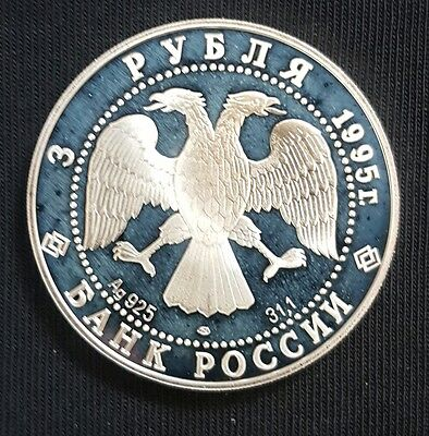 1995 Russia 3 Roubles 50th Anniversary United Nations...PROOF Silver Coin..