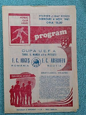 1981 - ARGES PITESTI v ABERDEEN PROGRAMME - UEFA CUP 2ND ROUND 2ND LEG