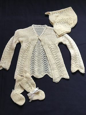 Vintage Ivory  Knit Baby Sweater W/ Bonnet and Booties