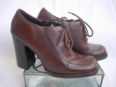 Womens Bakers Player Hi-Heel Lace-Up Oxford Brown Leather Shoes Size 7 1/2M